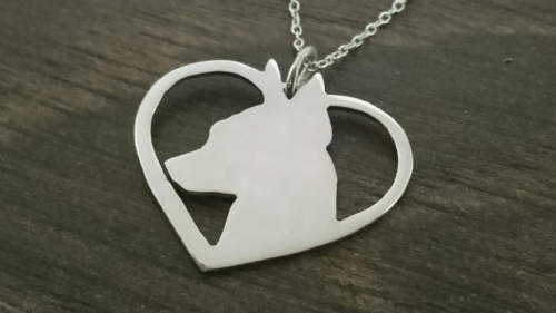 minature pincher in a heart dog pendant sterling silver handmade by saw piercing